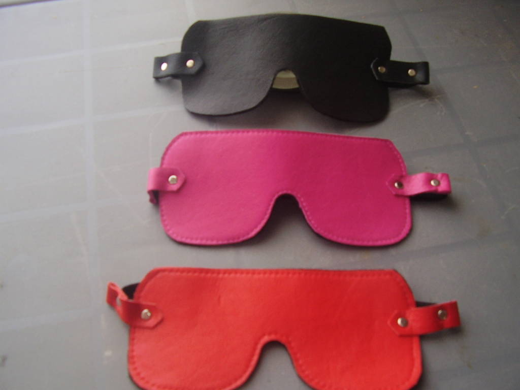 leather and felt blindfolds